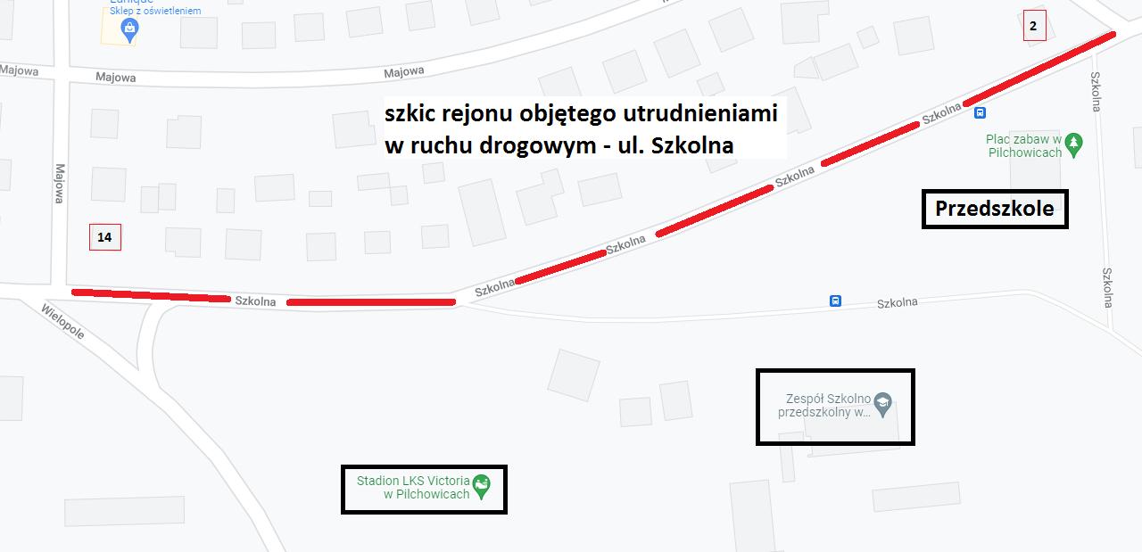 tymczasowa organizacja ruchu na ul. Szkolnej